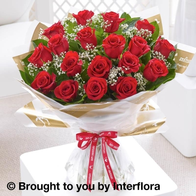 Happy Anniversary Heavenly Red Rose Hand tied with I Love You Balloon