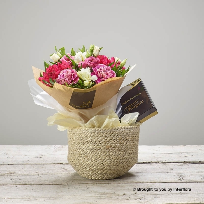 Rustic Raspberry Basket with Chocolates